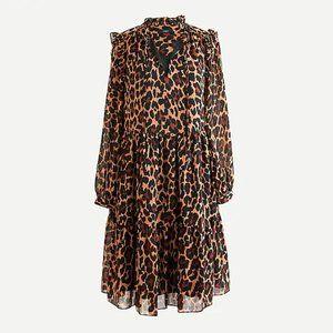 J Crew Tie-neck tiered dress in leopard NWT